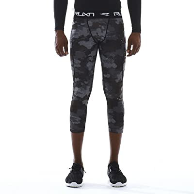 RUXN Men Cool Quick Dry 3/4 Compression Pants Baselayer Underlayer Tights Leggings Active Sports
