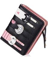 Women's Wallet Short Cartoon Cute Cat Wallet Coin Purse Bifold Purse with Zipper