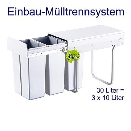 Made for us 30L Einbau-Mülleimer 3 x 10L Küchen-Abfalleimer 3er  Müll-Trennsystem 30 Liter Abfallsammler zur 3-Fach Abfall-Trennung im  Unterschrank ...