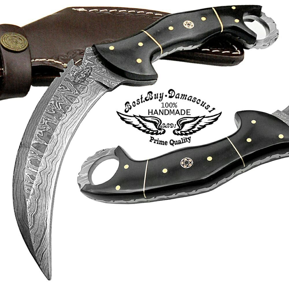 Buffalo Horn 8.2'' Fixed Blade Custom Handmade Damascus Steel Hunting Knife 100% Prime Quality