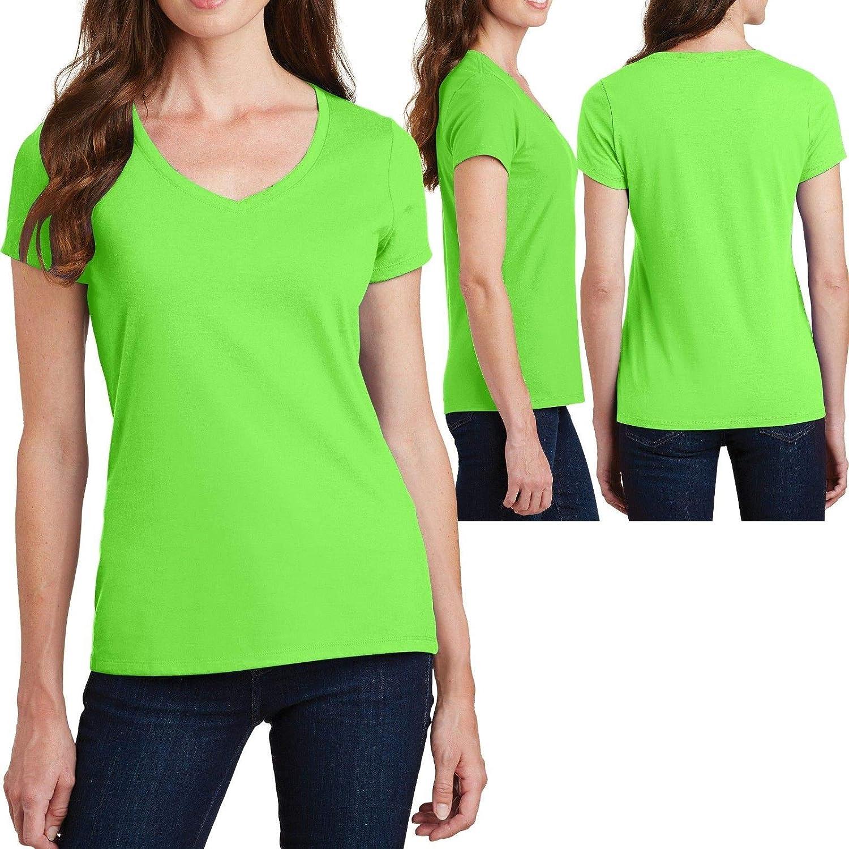 Choose Size 1 Pc Flash Green Plus Size Ladies V-Neck T-Shirt Soft Ring Spun Cotton Womens Tee Top New