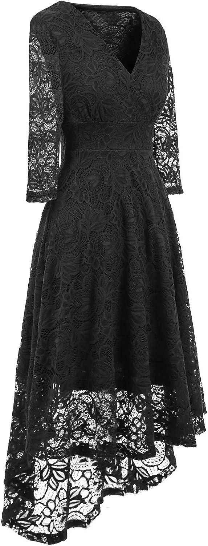 NALATI Women Lace Dress Vintage Beautiful 50s Retro Floral Fabric Deep V Neck 3//4 Long Sleeves High Waist High-Low Hip Party Cocktail Midi Swing Dress