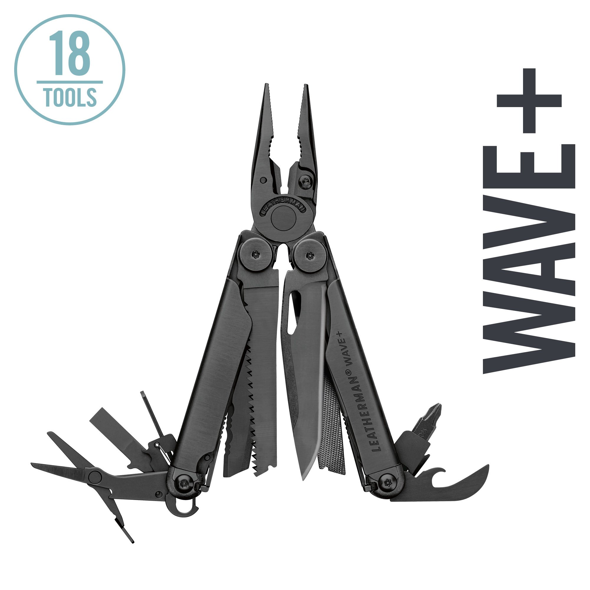 LEATHERMAN - Wave Plus Multitool with Premium Replaceable Wire Cutters and Spring-Action Scissors, Black
