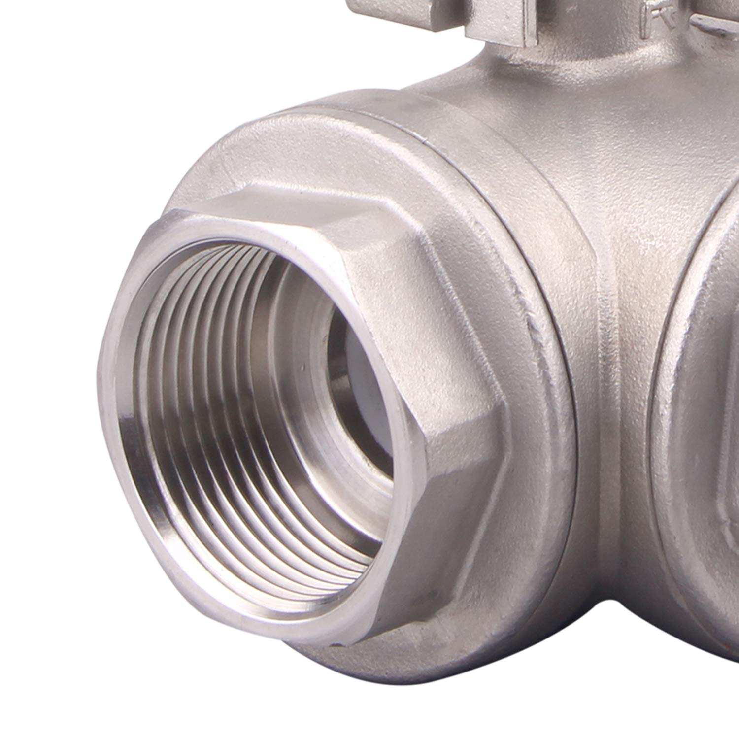 Oil Stainless Steel 304 Female Type for Water and Gas with Vinyl Locking Handle L Mounting Pad 1//2 Inch NPT DERNORD 3-Way Ball Valve