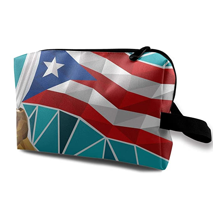 650de5805bac Amazon.com: Puerto Rico Flag Women's Portable Travel Makeup Bag ...