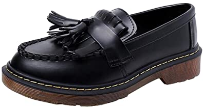 c619dcfaf17 PPXID Women s Leather Tassel Loafer Flats Oxford Shoes(Big Black 5 US Size