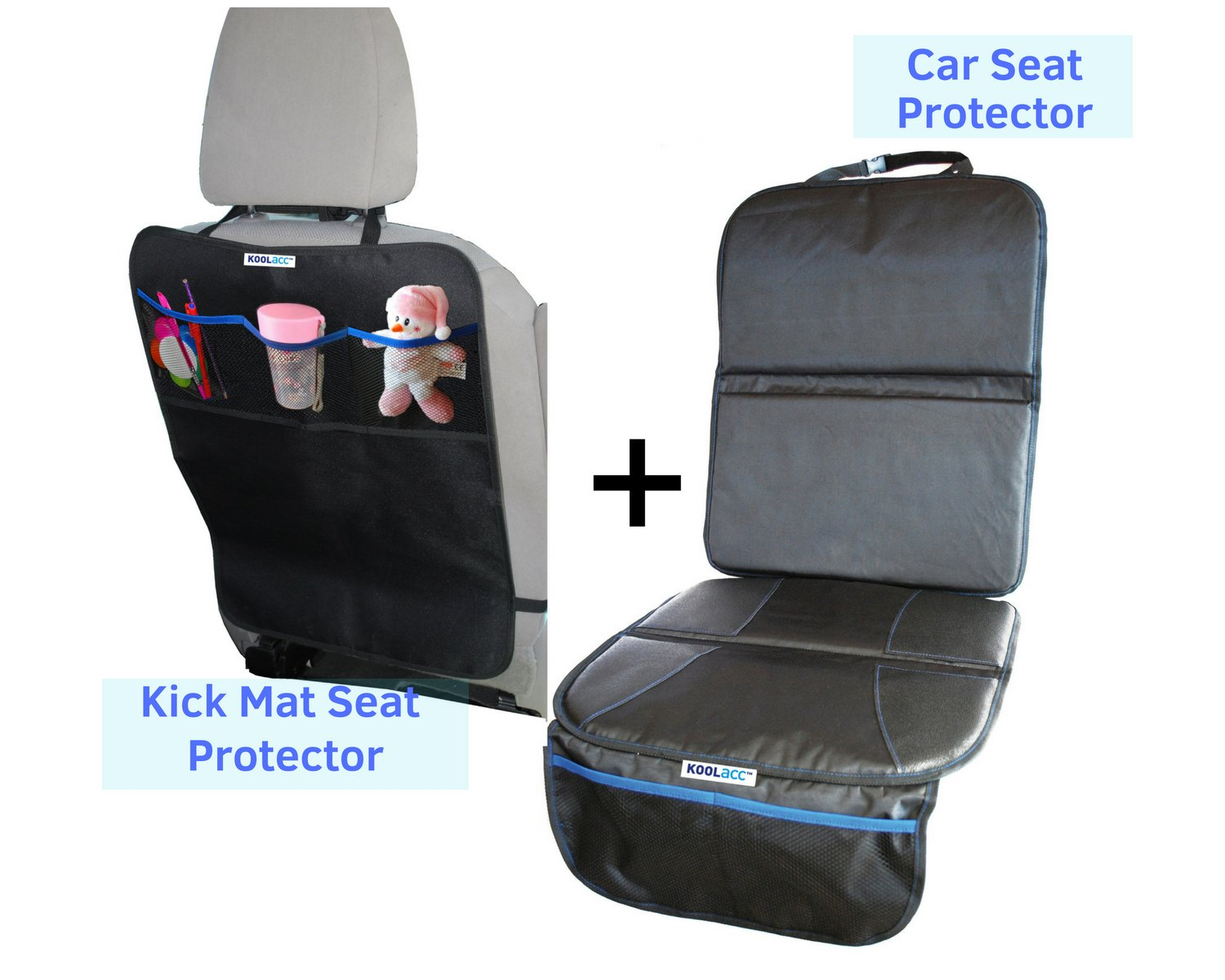 Car Seat Protector + Kick Mat Back Seat Protector Set : Perfect CarSeat Seat Protector fits Under Baby & Child Car Seat or Dogs, Cover Pad Protects Vehicle Leather Seats MMS Ltd KA101-CSP-KM-BNDL