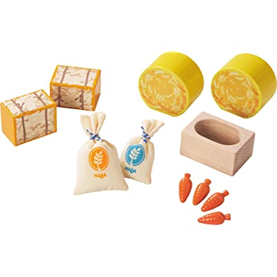 HABA Little Friends Horse Feed Play Set Accessories - Includes Hay Bales, Oats, Carrots & Feeding Trough: Toys & Games