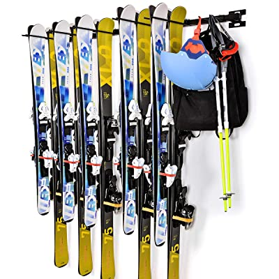 Ski Snowboard Wall Storage Rack | Holds 10 Pairs | Ski Wall Mount Home & Garage Storage Hanger Garage Storage Mount System,Black: Home Improvement
