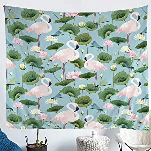 Erosebridal Flamingo Tapestry Dragonfly Tapestries Lotus Water Lily Leaf Wall Hangings Romantic Garden Style Wall Hangings for Kid Girl Women Large 59x82 Bedroom Dorm Decor