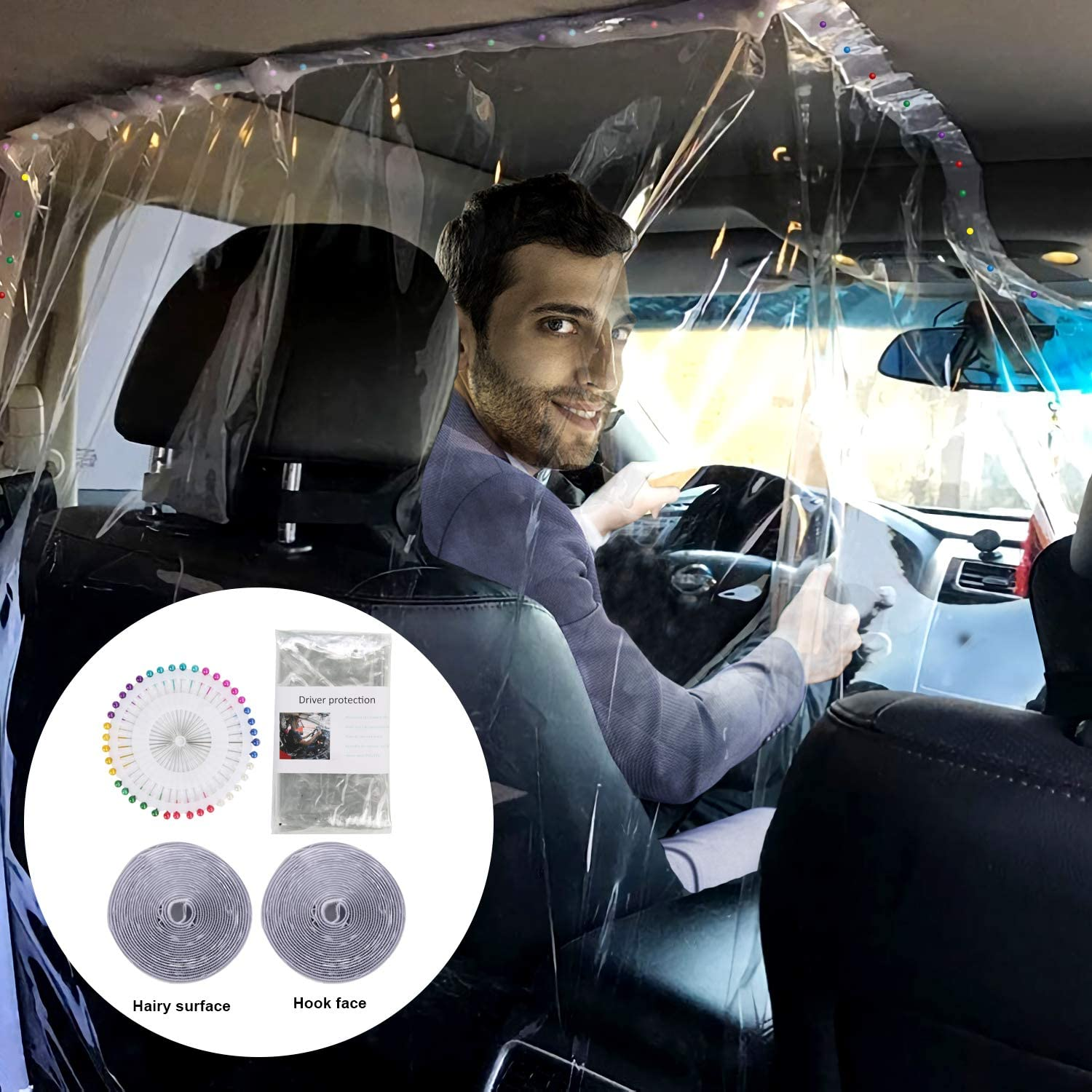 Plastic Anti-Droplet Full Surround Protective Cover Car Interior Partition Protective Film for Going Out JNUYISW Car Taxi Isolation Transparent Film