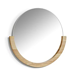Umbra Mira Wall Mirror, Decorative Mirror for Entryway, Circular Mirror with Wood Frame on the Bottom Half, Natural Finish