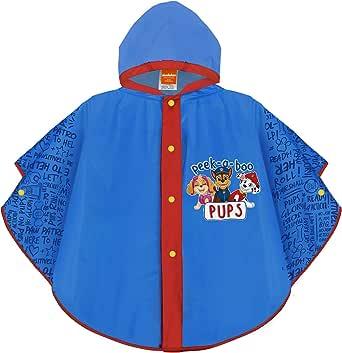 PERLETTI Chubasquero Niño Paw Patrol Azul - Poncho Impermeable Niños 3 4 5 6 Años Patrulla Canina - Ropa de Agua con Capucha y Botones a Presión Perros Chase Marshall Skye