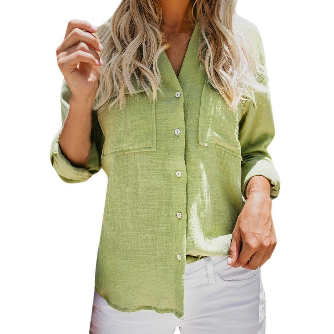 Luckycat Frauen Baumwolle Leinen Casual Solid Langarm Shirt Bluse Button Down Tops Mode 2018