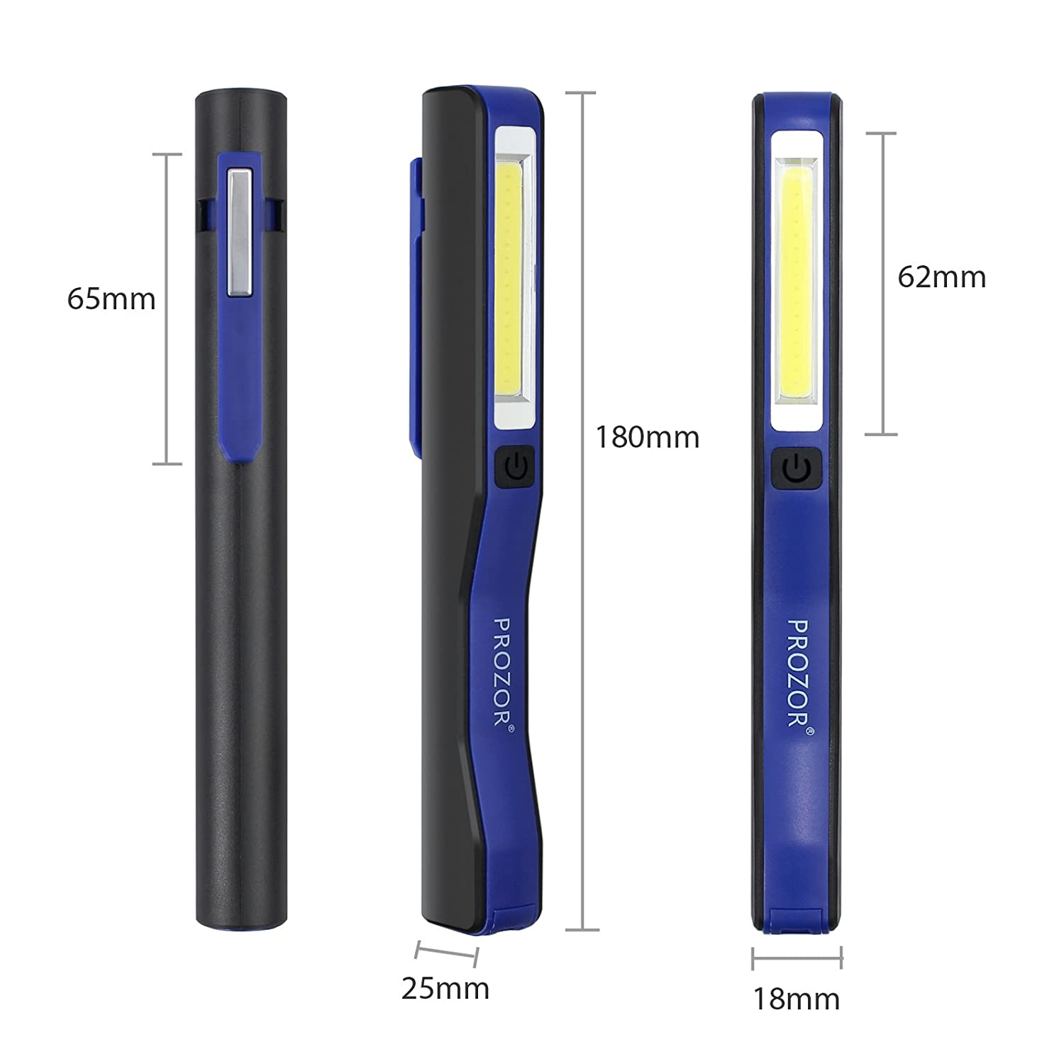 PROZOR LED Inspection Lamp Rechargeable Mini Torch with Magnetic Clip And USB Charging Cable 1W//3W COB LED Work Light for Auto Repair Garage Emergency Camping Hiking-Blue