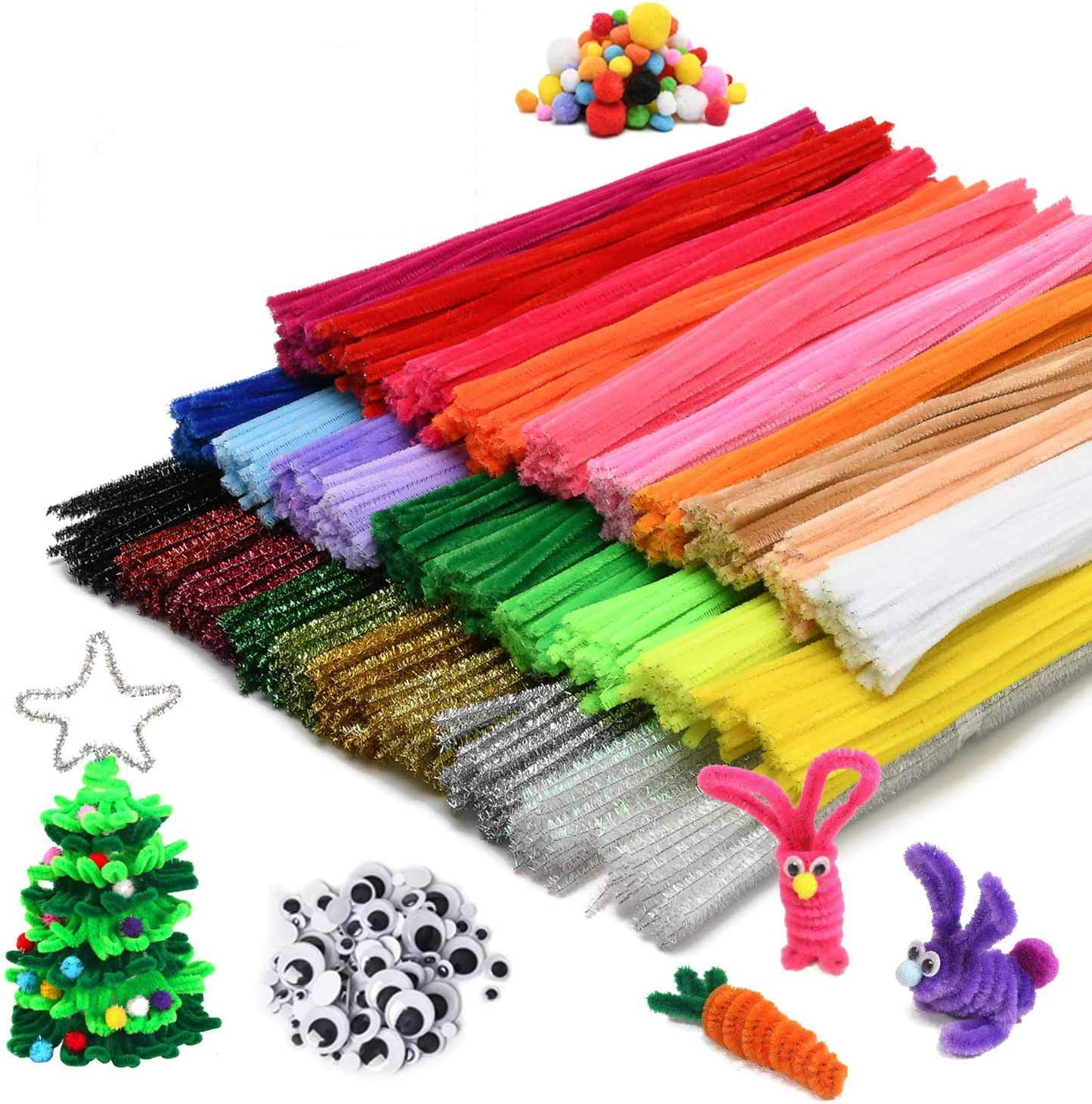Green Red Golden 360 Pieces Chenille Stems Pipe Cleaners Christmas Glitter Craft Chenille Stems Colorful Pipe Cleaners Decoration for DIY Christmas Crafts Silver Blue 12 Inch Purple