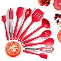 Utensilios Cocina de Silicona,KagoLing 10 Piezas Juego de Utensilios de Cocina Resistentes al Calor y Antiadherentes con…