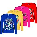 Kiddeo Girl's Cotton Full Sleeve T-Shirt - Pack of 4