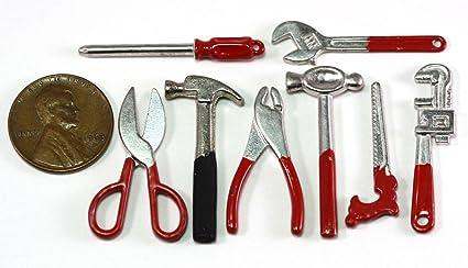 Set of 5 Miniature Sturdy Metal Garage Tools DOLLHOUSE Miniatures 1:12 Scale