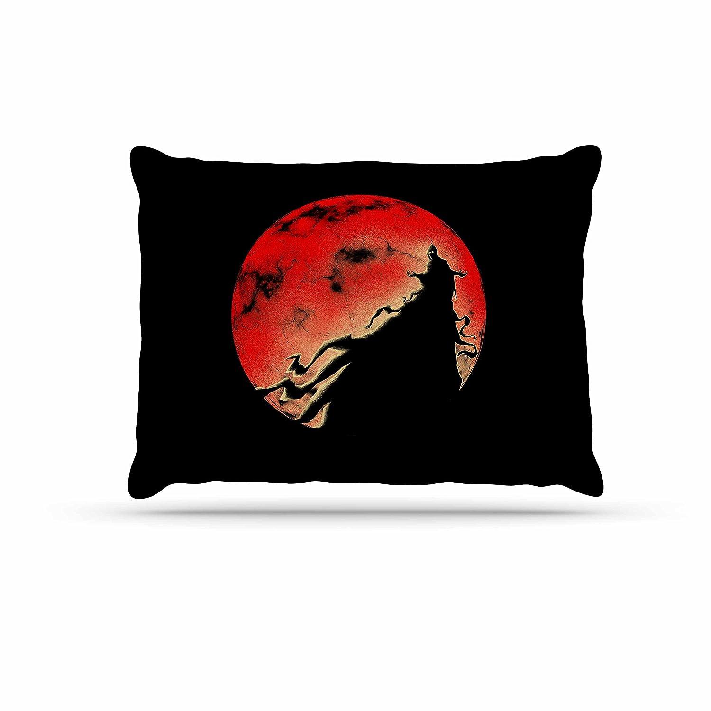 KESS InHouse Barmalisirtb Black Cloak Red Moondog Bed, 30  x 40