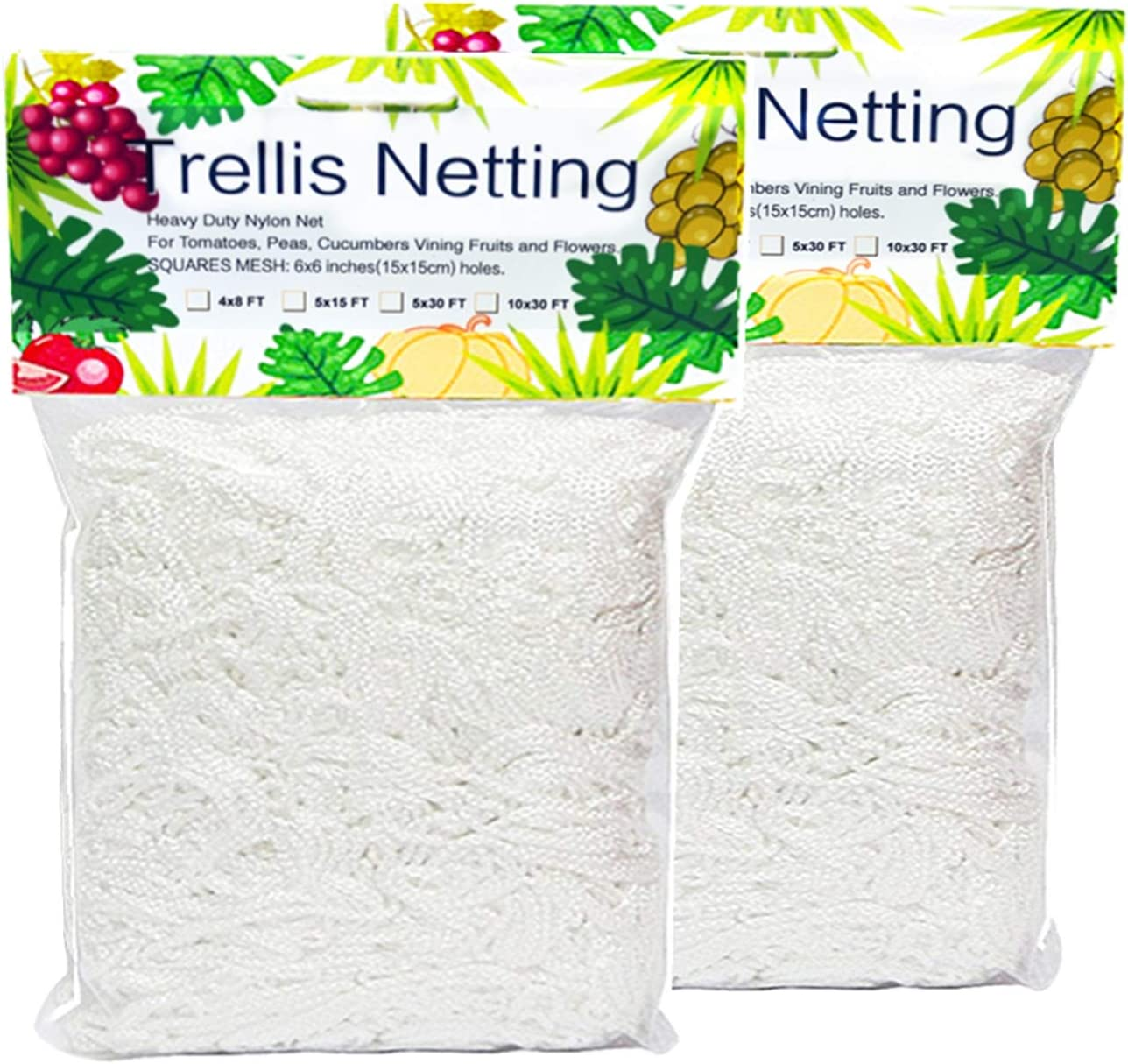 Trellis Netting, Heavy-Duty 5 x 15ft Polyester Plant Trellis Netting Support for Climbing Vining Plants, 2 Pack