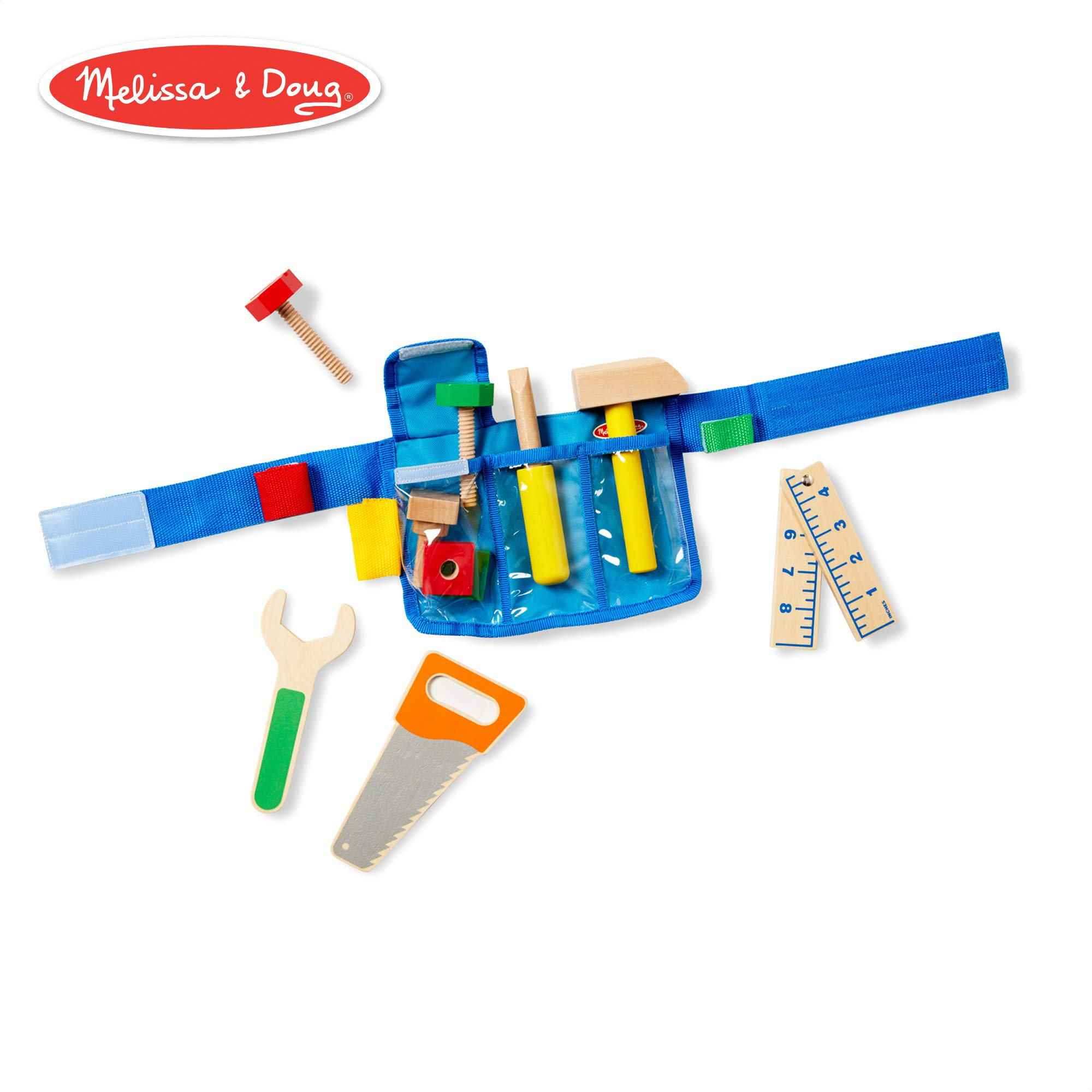 Melissa & Doug Deluxe Tool Belt Set (5 Wooden Toy Tools, 8 Building Pieces)
