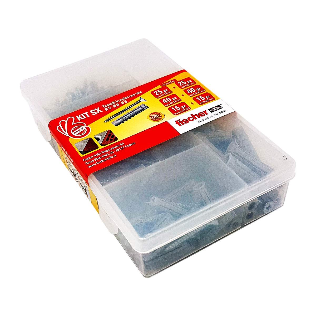 Fischer KIT SX, 80 Tasselli con vite per fissaggio su Muro pieno e Mattone Forato, 544256 Fischer Catalog Only It