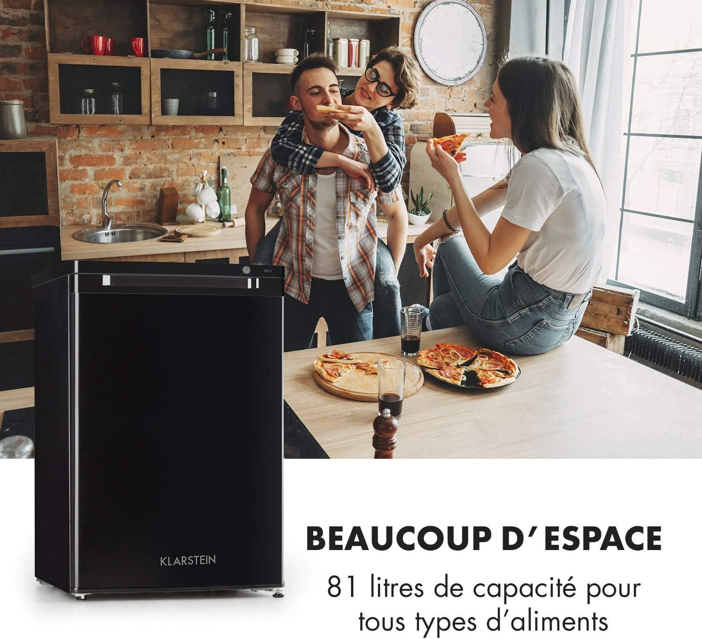 41 dB 80 litres r/églable en hauteur blanc /économique Cong/élateur id/éal pour couples et petites familles Klarstein Garfield XL Eco+ 3 tiroirs