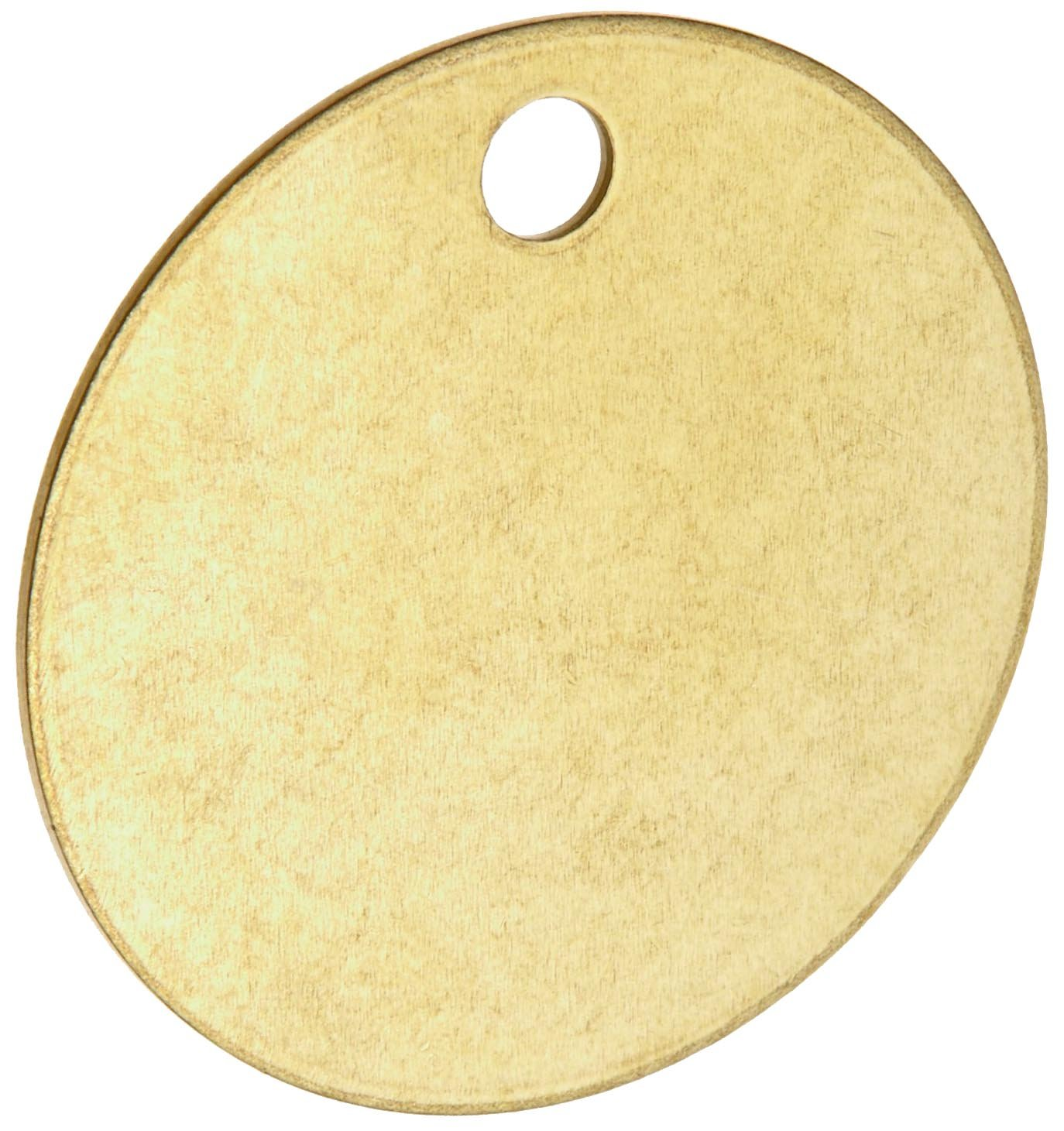 Brady Blank Valve Tags - Round Brass Tags, 1-1/2'' Diameter, B-907 (Pack Of 25) - 23210