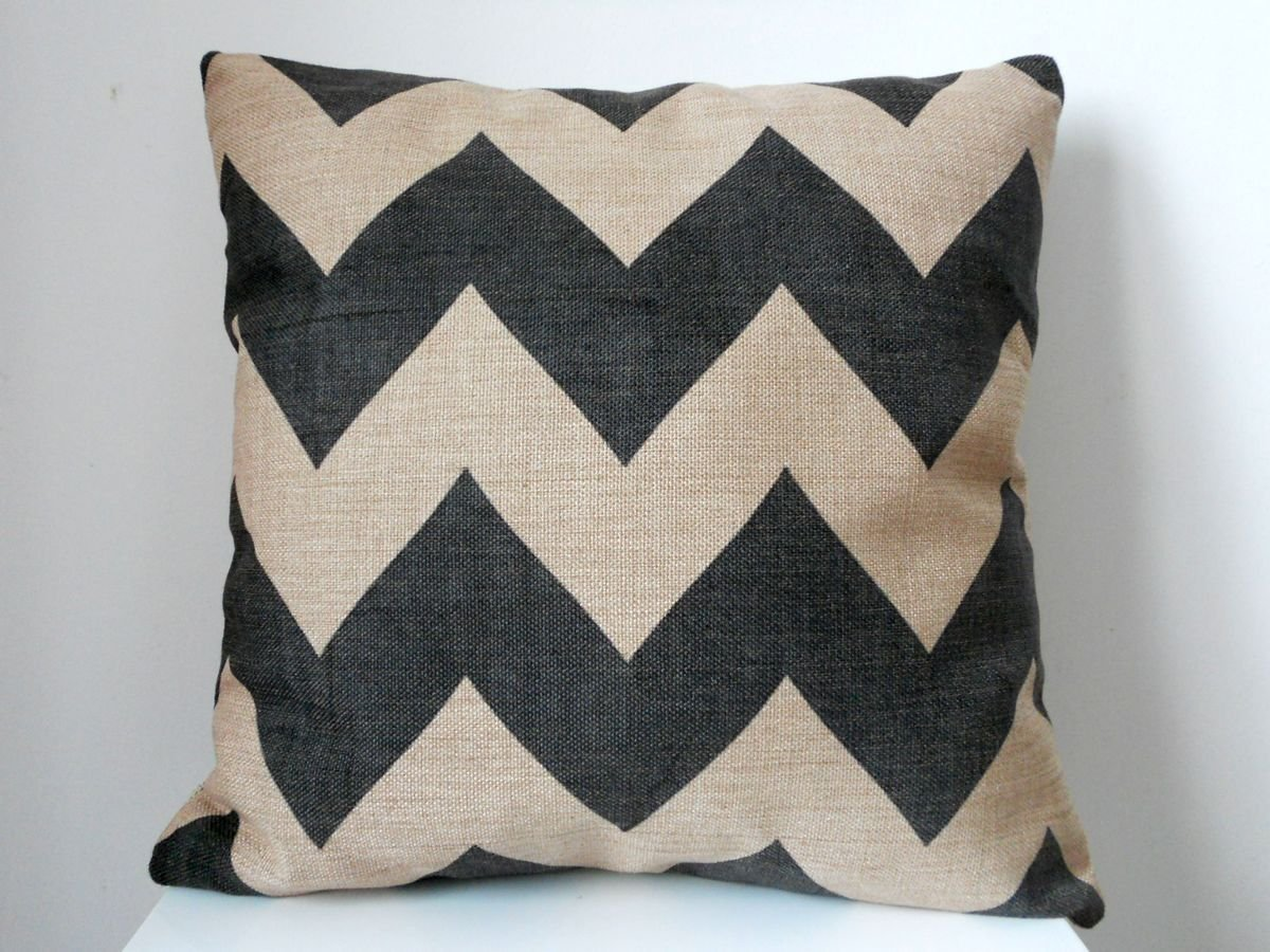 Decorbox Cotton Linen Square Throw Pillow Case Decorative Cushion Cover Pillowcase Black Zig Zag Chevron Fade Zigzag Stripes Wave 18 X18