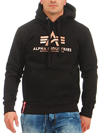 Alpha Industries Hoody Basic, Größe:S, Farbe:black/gold