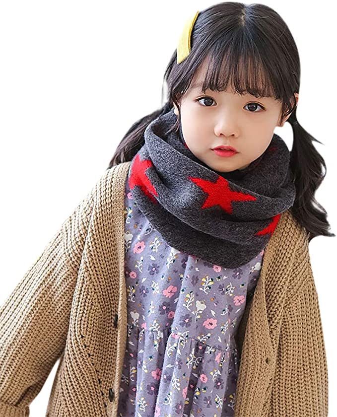 Ruixia Kids Winter Thermal Knitted Neck Warmer Cute Stars Pattern Warm Neckerchief Scarf Soft Comfy Thick Wool Windproof Neck Infinity Scarf Birthday Chirstmas Gift for 1-8 Years Old Child