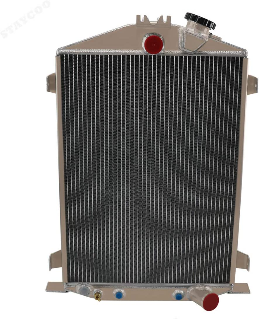 STAYCOO 4 Row All Aluminum Radiator for 1932 Ford High Boy &Street Rod &Rat Rod Model 18/B/BB