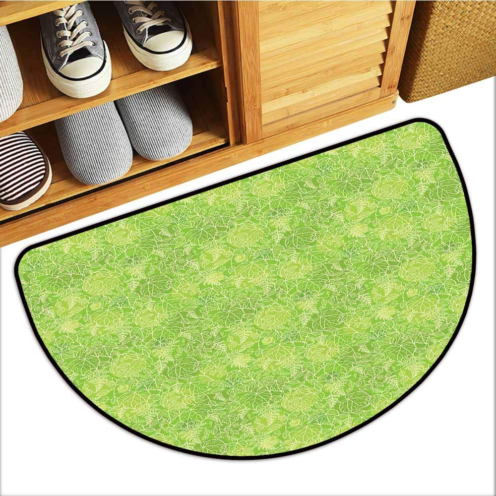 TableCovers&Home Universal Door Mat, Green Indoor Out-Imdoor Rugs for Kitchen, Line Art Style Flourish Pattern on Green Tone Backdrop Ornate Victorian (Apple Green Light Yellow, H24 x D36 Semicircle)