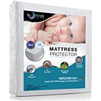 Dreamzie Waterproof Mattress Protector Breathable, Hypoallergenic, Anti-Mite, Anti-Bacterial, Anti-Mold Fitted Topper for Double Bed - New Bi-Ome Treatment - 10 Year Warranty