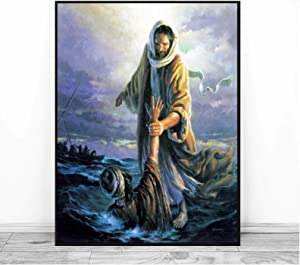 All Souls Day Jesus Peter Walking On Water Canvas Prints Picture Modular Paintings for Living Room Poster On The Wall Home Decor -50x75CM no Frame 1 Pcs