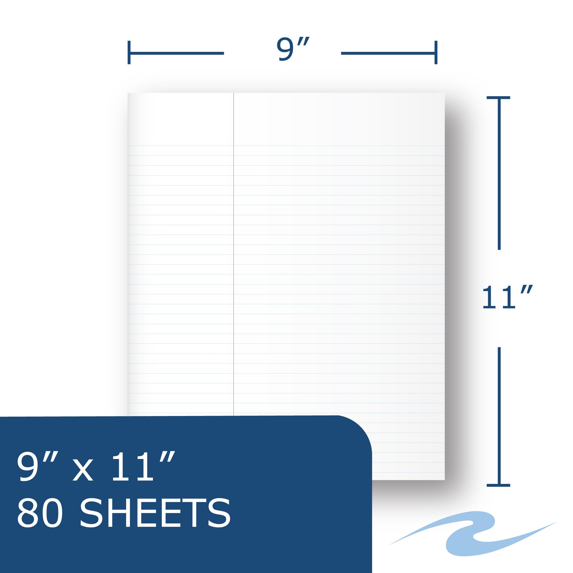 Case of 24 One Subject Notebooks, 11''x9'', 80 sheets of 15# White Paper, law Ruled, Perforated, Assorted Color covers by Roaring Spring (Image #5)