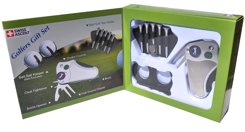 Mejor regalo del golfista set: Golf herramienta - stroke contador, arreglapiques y marcador para reparación, cepillo, marcador de bola, cinturón de ...