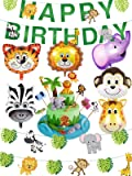 Safari Party Supplies Jungle Theme Birthday Party Decorations - Safari Animal Balloons, Zoo Animals Leaves Happy…