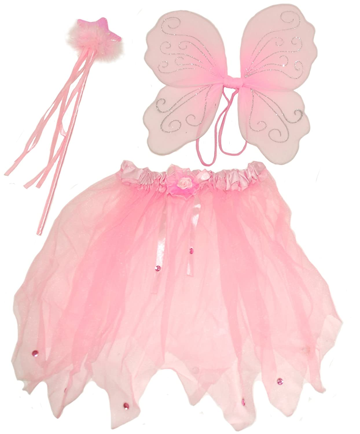 1a6d3c6a6 Cute Pink Fairy set , Comprising Wings, Wand and Tutu, Ideal Dressing up ,  Fancy Dress. Fairy costume.: Amazon.co.uk: Toys & Games