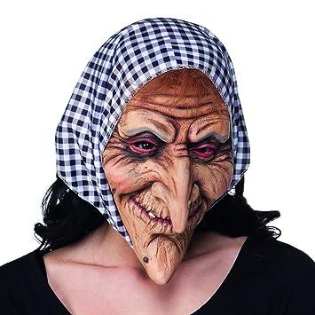Careta de Anciana con Pañuelo | Máscara de Bruja con Paño | Mascarilla Halloween | Antifaz
