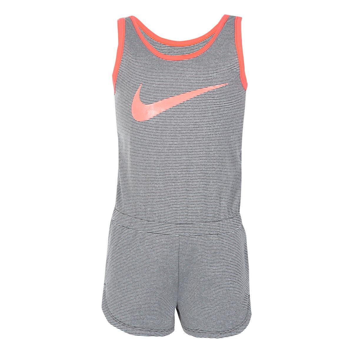 NIKE Girls Dri-Fit Sports Romper (Grey pin Stripe, 6X)