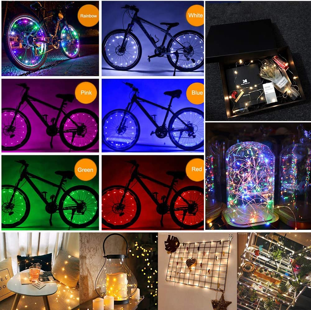 Newace 2pcs LED Bike Wheel Lights Waterproof Bicycle Spoke Fairy String Lights with Batteries