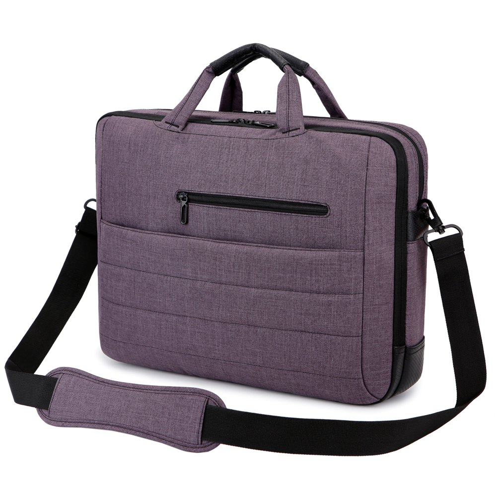 BRINCH 17.3 Inch Nylon Shockproof Carry Laptop Case Messenger Bag For 17-17.3 Inch Laptop/Notebook/MacBook/Ultrabook/Chromebook with Shoulder Strap Handles and Pockets (Dark Purple) by BRINCH (Image #9)