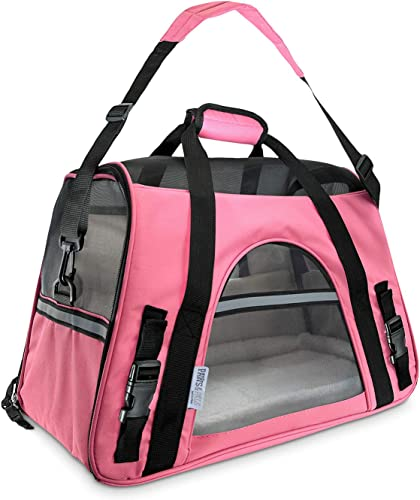 Paws Pals Airline Approved Pet Carrier – Soft-Sided Carriers for Small Medium Cats and Dogs Air-Plane Travel On-Board Under Seat Carrying Bag with Fleece Bolster Bed for Kitten Cat Puppy Dog Taxi