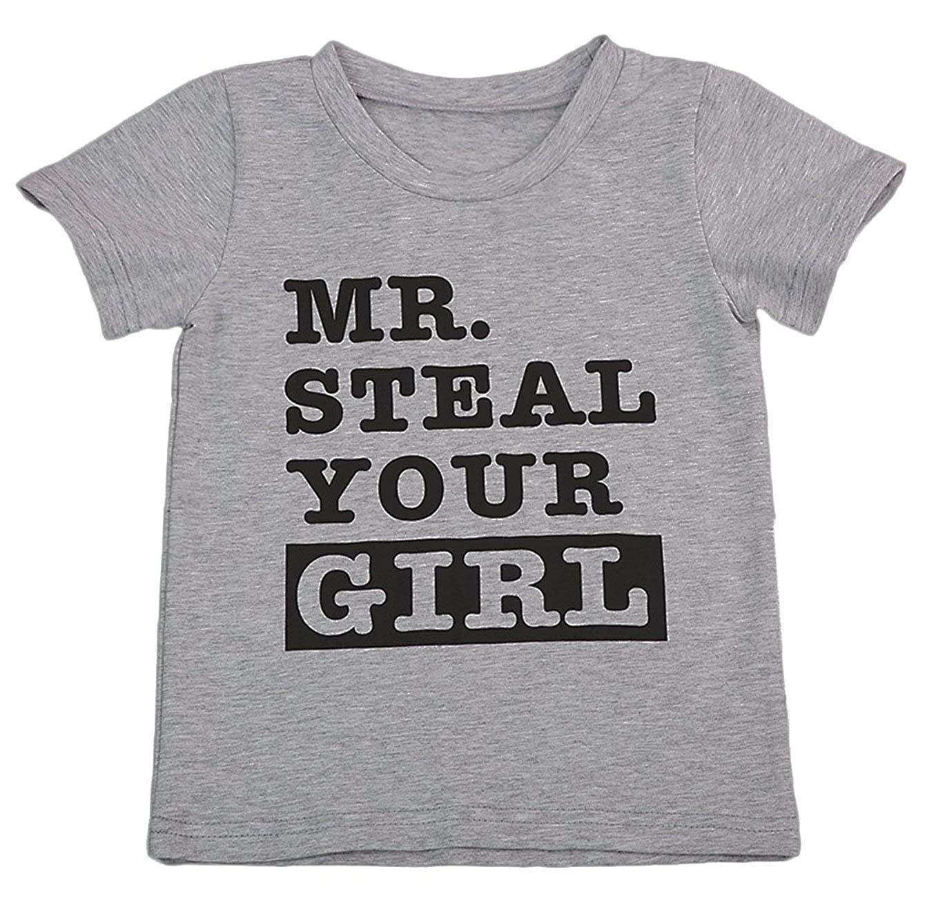 SWNONE Toddler Baby Boy Short Sleeve Letter Print Shirts Mr. Steal Your Girl Clothes Outfit