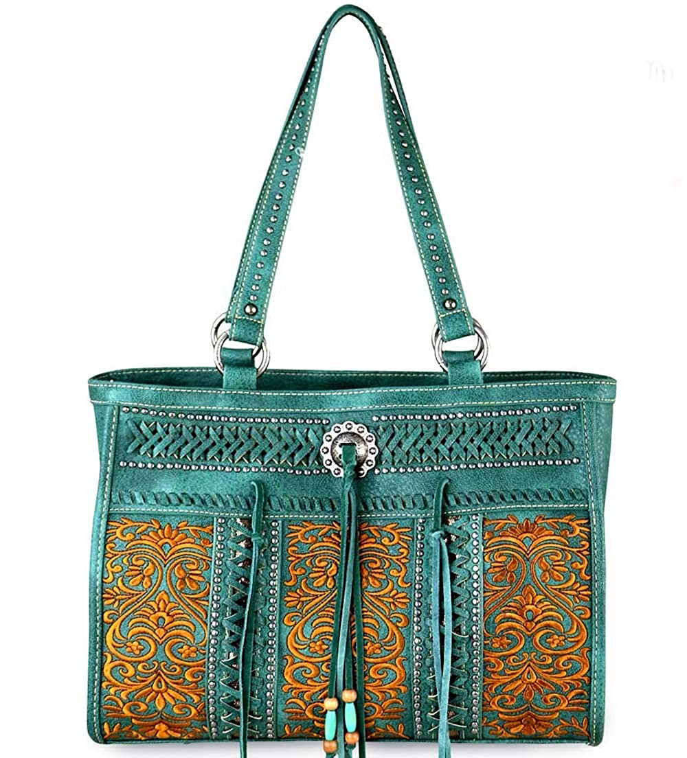 Green Montana West Concealed Carry Floral Embroidered Large Carryall Tote
