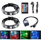 Tingkam® 2pcs 18W 30cm Bande de LED SMD RGB 5050Full Kit avec télécommande 24touches pour Desktop PC Ordinateur Mid Tower Boîtier
