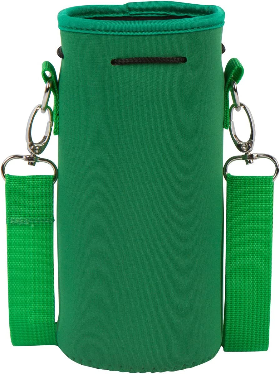 Made Easy Kit Neoprene Water Bottle Carrier Holder (32 Ounces or 1-1.5 Liter) w/Adjustable Shoulder Strap - Protect Your Containers from Damage - Cover Glass Bottles - Dog Bottle Carrier (Green)