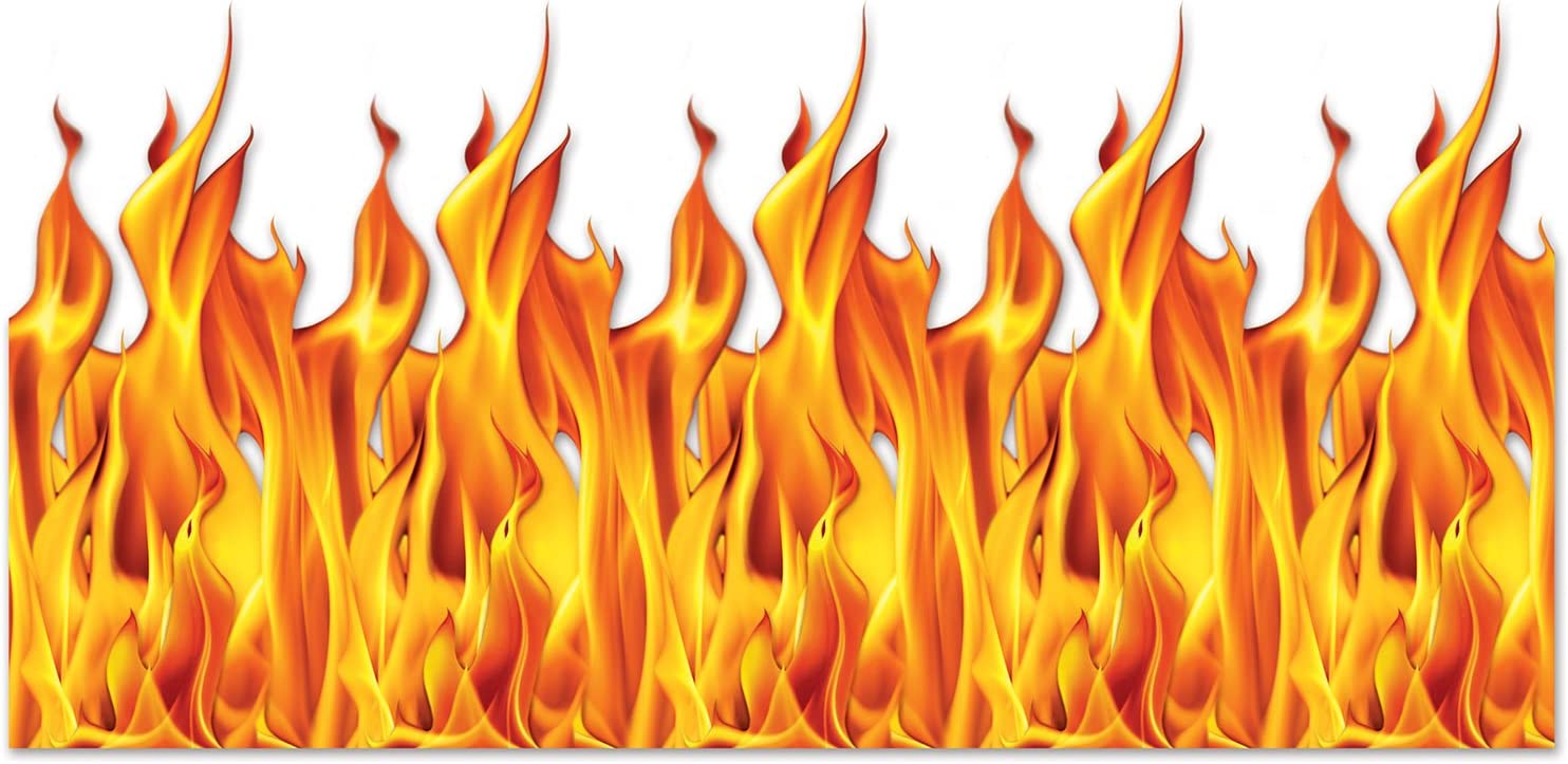 Beistle Flame Backdrop, 4' x 30', Yellow/Orange/Red